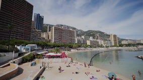 De Middellandse Zee en de kust in Monaco stock footage