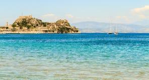 De Middellandse Zee in Korfu stock foto's