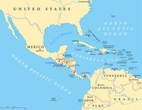 De midden politieke kaart van Amerika royalty-vrije illustratie