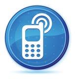 De middernacht blauwe eerste ronde knoop van het Cellphone bellende pictogram vector illustratie
