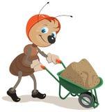 De mier draagt een kar met zand Royalty-vrije Stock Foto's