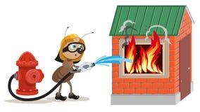 De mierenbrandbestrijder dooft huis Stock Afbeeldingen