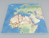 De migratiestromen van kaartafrika Stock Foto