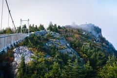 De Mijl Hoge Slingerende Brug en de rotsachtige top in mist, in Grandf stock foto's