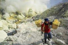 De Mijnwerker Crater Ijen van de glimlachzwavel Stock Foto