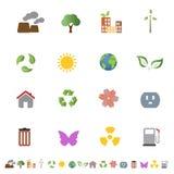 De milieu reeks van het ecologiepictogram Stock Foto