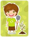 De milieuvriendelijke jongen plant een boom Stock Afbeeldingen