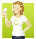 De milieuvriendelijke vrouw houdt een lamp Stock Fotografie