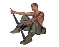 De Militair van de woestijn - 2 Stock Foto's