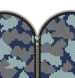 De militaire camouflage breide textuur met slot als stoffentextuur in kaki tinten Bevestigingsmiddel en ritssluiting op gebreid w stock illustratie