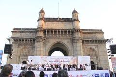 De militaire het marcheren band presteert in India Stock Afbeeldingen