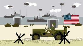de militaire jeep van 1944 op de landende stranden in Frankrijk vector illustratie