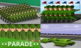 De militaire reeks van de paradebanner, beeldverhaalstijl vector illustratie