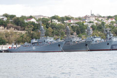 De militaire schepen zijn bij ligplaats Royalty-vrije Stock Afbeeldingen