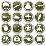 De militaire vastgestelde vector van het legerpictogram Stock Afbeeldingen