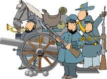 De militairen en het kanon van de Burgeroorlog Stock Afbeeldingen