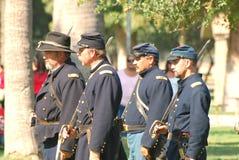 De militairen van de Unie bevinden zich in overzicht Stock Fotografie