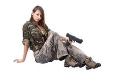 De militairen van de vrouw met kanonnen Stock Fotografie