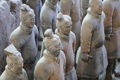 De militairen van het steenleger met paardstandbeeld, Terracottaleger in Xian, China Royalty-vrije Stock Afbeeldingen