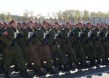 De militairen van interne troepen van MIA van Rusland treffen om op rood vierkant te paraderen voorbereidingen Royalty-vrije Stock Fotografie