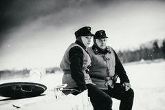 De militairen van Wehrmachtpanzertruppen van Gepantserde Troepen op Pz IV De Zwart-witte foto van Peking, China Stock Afbeeldingen