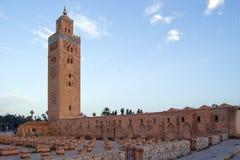 De Minaret en de Moskee van Marrakech Koutoubia Stock Foto