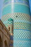 De minaret van islamkhoja, Khiva, Oezbekistan Stock Afbeelding