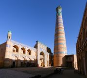 De minaret van Islomhoja in Itchan Kala - Khiva Royalty-vrije Stock Fotografie