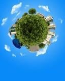 De miniatuurbol van het concept met de bouw en bos Stock Foto's