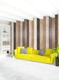 De minimale houten muur van het slaapkamer Binnenlandse ontwerp, gele bank het 3d teruggeven 3D Illustratie Royalty-vrije Stock Foto's