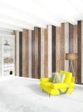 De minimale houten muur van het slaapkamer Binnenlandse ontwerp, gele bank en copyspace in een leeg kader het 3d teruggeven 3D Il Stock Foto's
