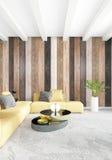 De minimale houten muur van het slaapkamer Binnenlandse ontwerp, gele bank en copyspace in een leeg kader het 3d teruggeven 3D Il Royalty-vrije Stock Foto's