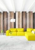 De minimale houten muur van het slaapkamer Binnenlandse ontwerp, gele bank en copyspace in een leeg kader het 3d teruggeven 3D Il Stock Afbeelding