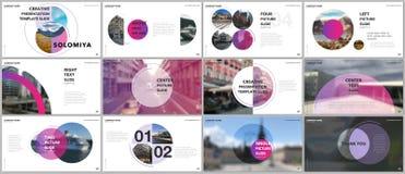 De minimale presentaties ontwerpen, portefeuille vectormalplaatjes met cirkelelementen op witte achtergrond Multifunctioneel malp stock illustratie