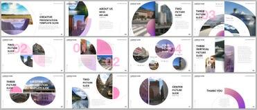 De minimale presentaties ontwerpen, portefeuille vectormalplaatjes met cirkelelementen op witte achtergrond Multifunctioneel malp vector illustratie