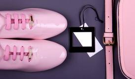 De minimale reeks van mooie vrouwen maniertoebehoren op een roze achtergrond Royalty-vrije Stock Foto
