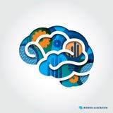 De minimale stijl Brain Illustration met Zaken bedriegt Stock Afbeelding