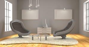 De minimalistische 3d ruimte geeft terug stock afbeelding