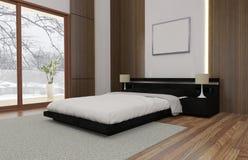 De minimalistische en Skandinavische Stijl met comfortabele Binnenlands en 3d slaapkamer geeft terug royalty-vrije illustratie