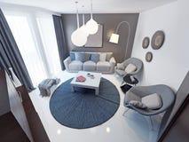 De minimalistische tendens van de zitkamerruimte Royalty-vrije Stock Afbeeldingen