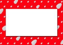 De minimalistische Uitstekende Illustratie van de Groetkaart met Cedar Cones Polka Dot Pattern, Levendige Rode Achtergrond en Exe vector illustratie