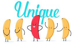De minimalistische veranderende kleur van de stijl rode banaan en gele degenen Nieuw idee, verandering, tendens, innovatie en uni stock illustratie