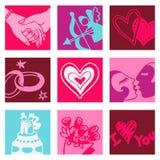 De minnaars kleuren pictogrammen Stock Foto