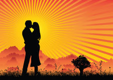 De minnaars silhouetteren zonsondergang Royalty-vrije Stock Foto