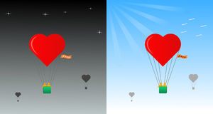 De minnaars van de reis in een ballon Stock Fotografie