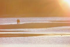 De minnaars van de zonsondergang het lopen Royalty-vrije Stock Afbeeldingen