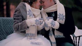 De minnaars zitten in de winter in het Park op een bank die in sjaals, met vuisthandschoenen op hun handen en met mokken hete kof stock footage