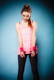 De misdaad van de tiener - tienermeisje in handcuffs Royalty-vrije Stock Foto's