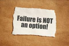 De mislukking is geen optie motievenbericht Royalty-vrije Stock Afbeeldingen