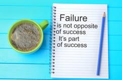 De mislukking is niet tegenovergesteld van succes Retro Etiket met Kalligrafische Elementen stock fotografie